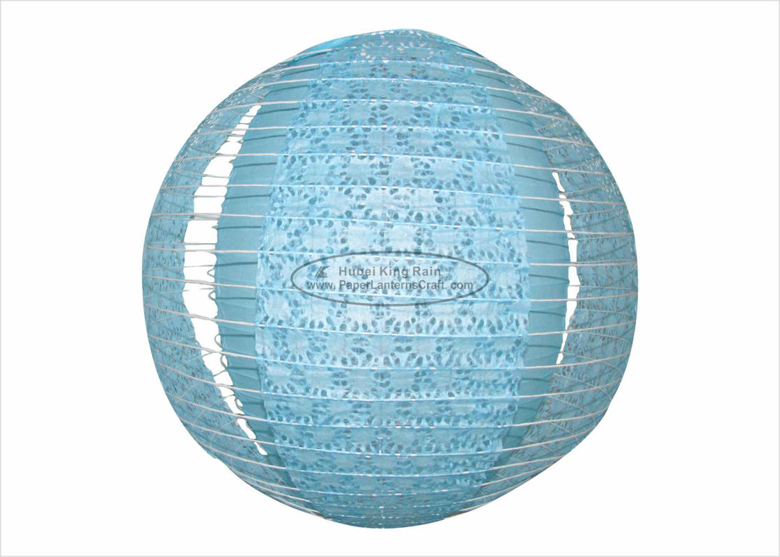 buy Blue Fuschia Multicolored Paper Lanterns , Round Indoor Hanging Party Paper Lanterns online manufacturer