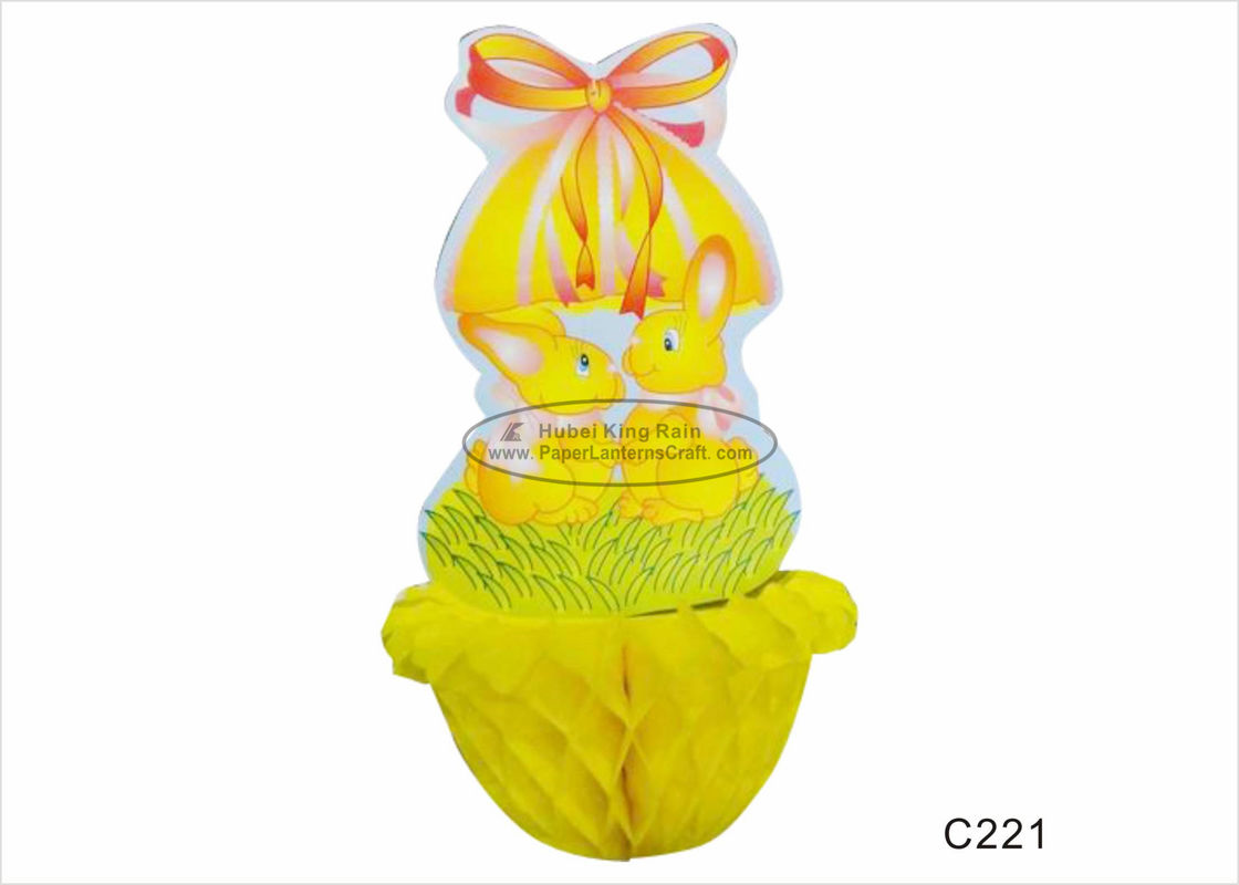 China Adorable Yellow Chicken Paper Easter Decorations for Honeycomb Party Decorations factory