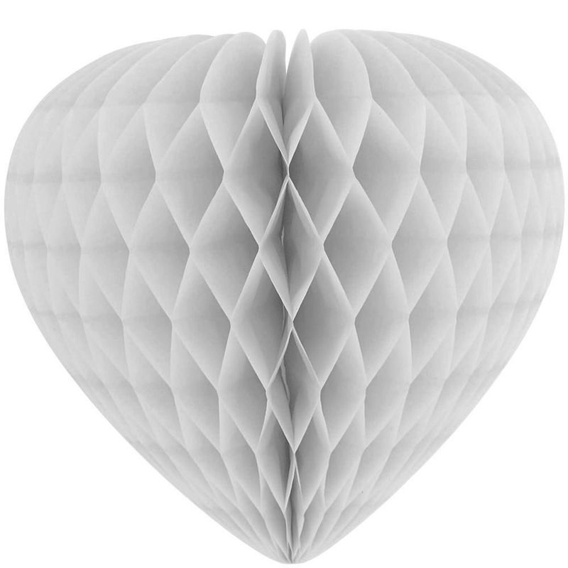 White Heart Shape Strong Paper Honeycomb Balls For Amusement Park Ornament