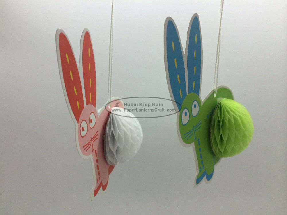 China Rabbit honeycomb Ornaments Paper Easter Decorations Hanging promption Anniversary factory