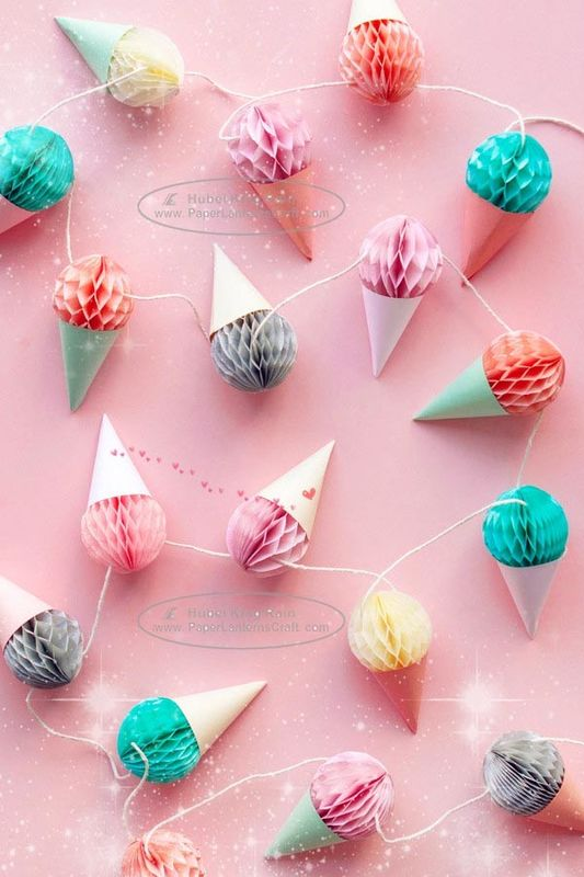 Baby Party Decoration Kids Paper Lanterns 40cm Ice Cream Honeycomb