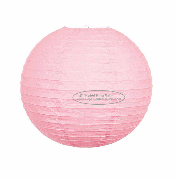 Dia 30cm & 40cm Round Paper Lanterns For Party , Hanging Pink Paper Lanterns