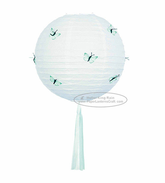30 Cm Butterflys Round Paper Lanterns Rice Paper Metal Lanterns Decoration