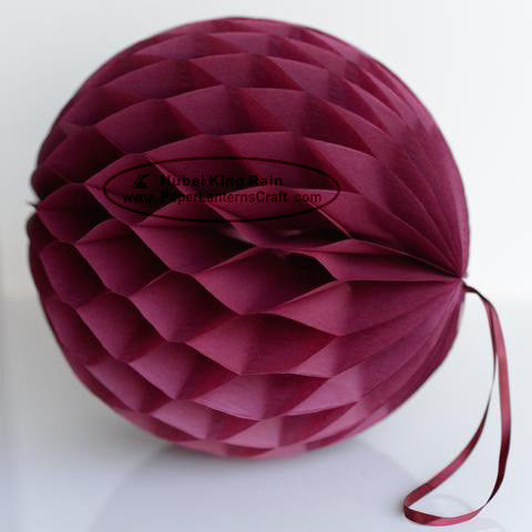 China DIY Burgundy Tissue Paper Honeycomb Balls Pom Poms With Loop For Hanging factory