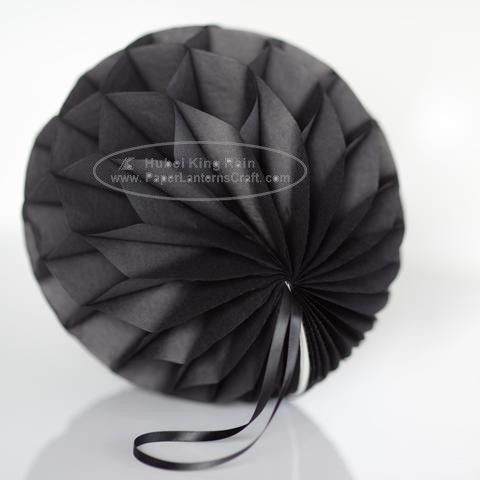 China Dark Grey Tissue Paper Honeycomb Balls Pom Poms With Satin Ribbon Loop For Hanging factory