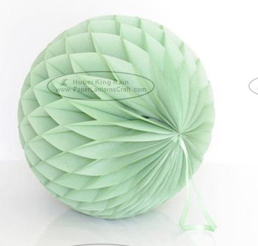 China Dusty Green Tissue Paper Honeycomb Balls Pom Poms With Satin Ribbon Loop factory