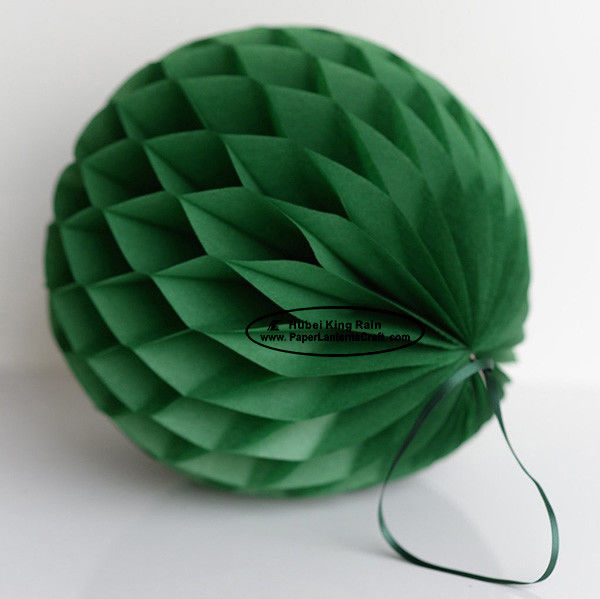 China Dark Green Tissue Paper Honeycomb Balls Pom Poms With Satin Ribbon Loop factory