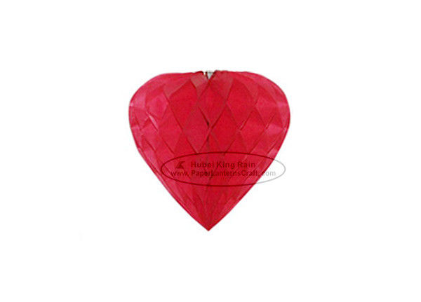 China Red Heart Paper Honeycomb Balls Tissue Paper Pom Poms Decorations factory